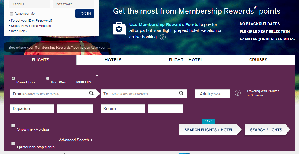 book travel with membership rewards points