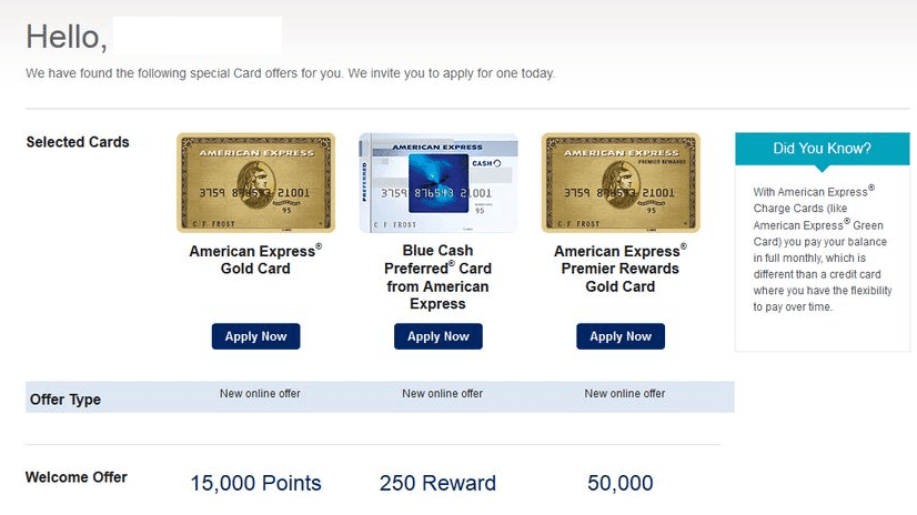 american express pre-approval offers