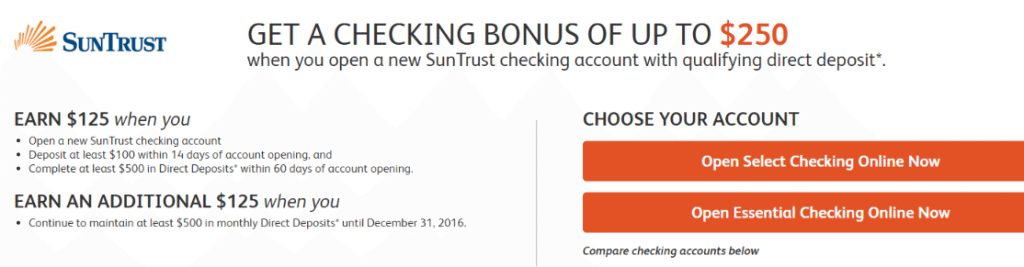 suntrust checking bonus