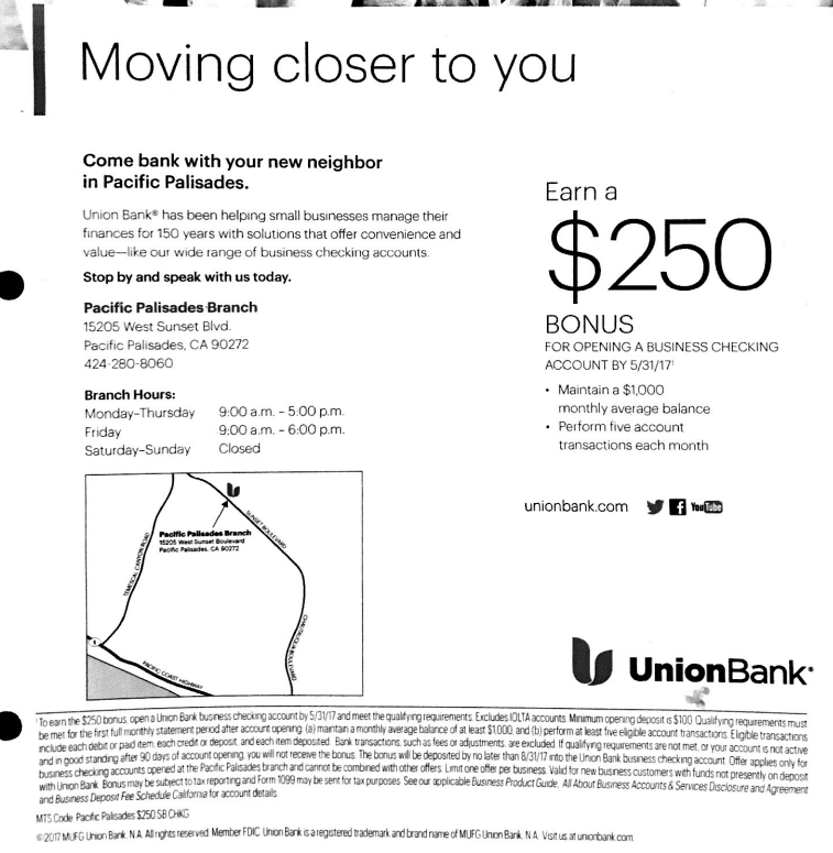 union bank $250 business checking