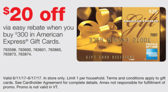 Expired Staples: Purchase $300 in AMEX Gift Cards & Get $20 Staples Gift Card [6/11-6/17 ...