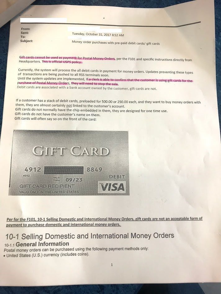 Now Hard Coded New Usps Memo Gift Cards Are Not Accepted To Buy