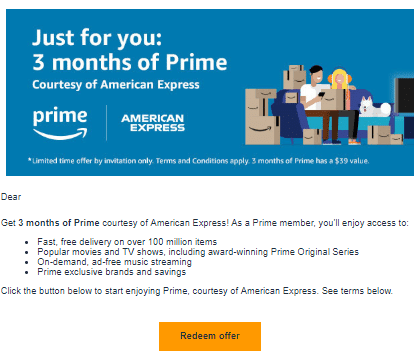 YMMV] American Express: 6 Months Of Amazon Prime For Free - Doctor