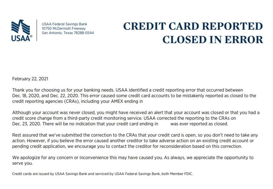 USAA Credit Cards Reporting As Closed [Fixed - Letter Sent Out